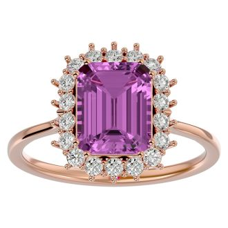 3 Carat Pink Topaz and Halo Diamond Ring In 14K Rose Gold