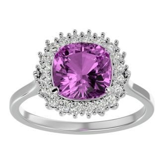 3 Carat Cushion Cut Pink Topaz and Halo Diamond Ring In 14K White Gold