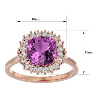 3 Carat Cushion Cut Pink Topaz and Halo Diamond Ring In 14K Rose Gold