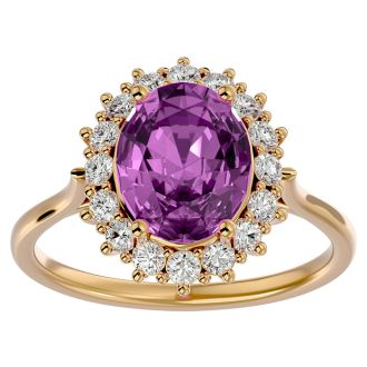 3 3/4 Carat Oval Shape Pink Topaz and Halo Diamond Ring In 14 Karat Yellow Gold
