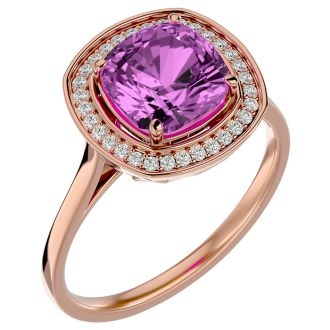 2 3/4 Carat Cushion Cut Pink Topaz and Halo Diamond Ring In 14K Rose Gold