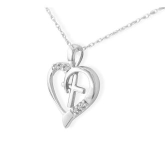 6 Diamond Heart and Cross Necklace In 1.4 Karat White Gold™