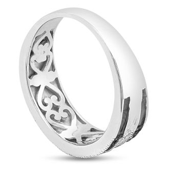 0.05 Carat Black and White Diamond Crossover Band Ring In Sterling Silver. 80% Lower Than Sold In Stores!