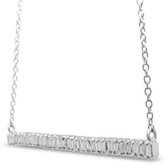 1/3 Carat Baguette Diamond Bar Necklace In Sterling Silver, 16 Inches. Brand New Amazing Baguette Diamond Necklace!