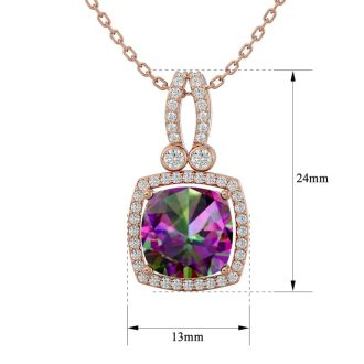 3 3/4 Carat Cushion Cut Mystic Topaz and Halo Diamond Necklace In 14 Karat Rose Gold, 18 Inches