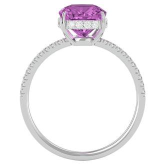 3 3/4 Carat Antique Cushion Shape Pink Topaz and Hidden Halo Diamond Ring In 14 Karat White Gold