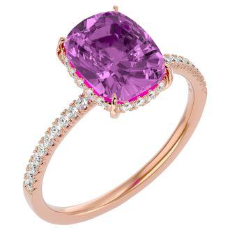 3 3/4 Carat Antique Cushion Shape Pink Topaz and Hidden Halo Diamond Ring In 14 Karat Rose Gold