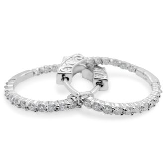 Incredible 1 Carat Moissanite Hoop Earrings Crafted In Solid Sterling Silver.  An Amazing SuperJeweler Exclusive At A Fabulous Price!