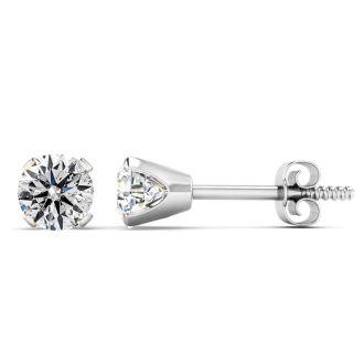 Diamond Stud Earrings! 1/2 Carat Stud Earrings In White Gold.  Shiny, Shimmering, Bright Natural Diamonds!