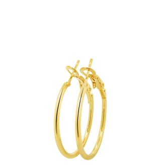 Set of Three Yellow Gold Tone Hoop Earrings - 1, 1 1/2 and 2 Inches
