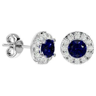 1 Carat Sapphire and Halo Diamond Stud Earrings In 14 Karat White Gold