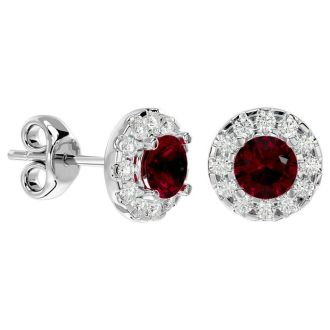 1 Carat Ruby and Halo Diamond Stud Earrings In 14 Karat White Gold