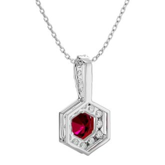 1/2 Carat Ruby and Halo Diamond Necklace In 14 Karat White Gold, 18 Inches
