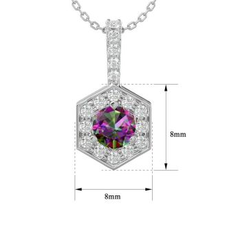 1/2 Carat Mystic Topaz and Halo Diamond Necklace In 14 Karat White Gold, 18 Inches