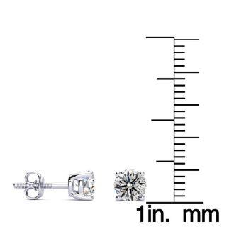 1 Carat Diamond Stud Earrings In 14 Karat White Gold