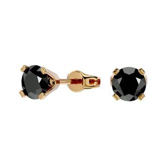 3/4ct Black Diamond Stud Earrings in 14k Yellow Gold