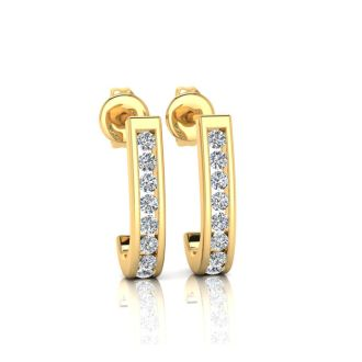 1/4ct Diamond Hoop Earrings in 10k Yellow Gold. Very Popular Style