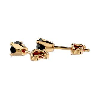 1/5ct Black Diamond Stud Earrings in 10k Yellow Gold