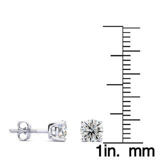 1 Carat Diamond Stud Earrings In Platinum With Screwbacks