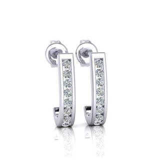 1/4ct Diamond Hoop Earrings in 10k White Gold. Very Popular Style!