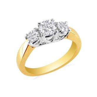 14k Yellow Gold 3/4ct Three Diamond Ring, G/H Color, SI1 Clarity