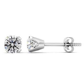 Nearly 3/4 Carat Diamond Stud Earrings In 14 Karat White Gold.  INCREDIBLE ONE TIME DEAL!