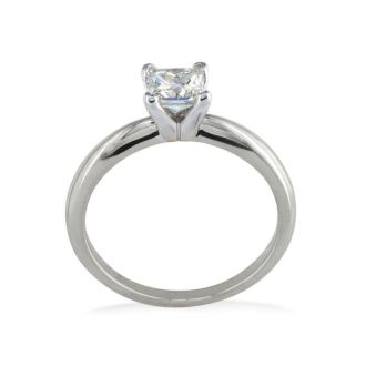 1/4 Carat Princess Diamond Solitaire Engagement Ring in 14K White Gold