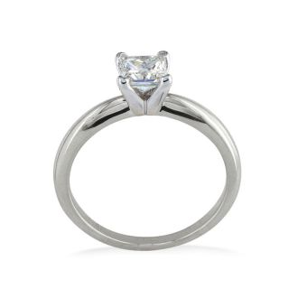 1/3 Carat Princess Diamond Solitaire Engagement Ring in 14K White Gold