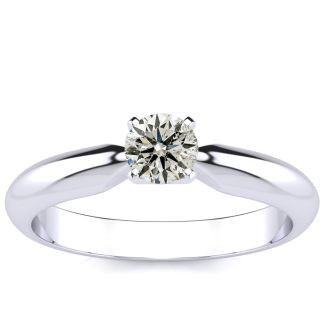 1/3 Carat Diamond Solitaire Engagement Ring in 14K White Gold