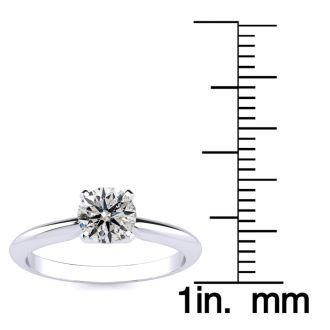 3/4 Carat Round Shape Diamond Solitaire Ring In 14K White Gold