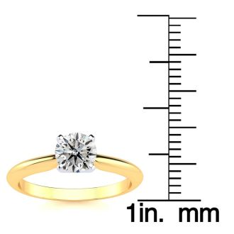 3/4 Carat Diamond Solitaire Ring In 14K Yellow Gold