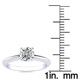 2/3 Carat Round Shape Diamond Solitaire Ring In 14K White Gold