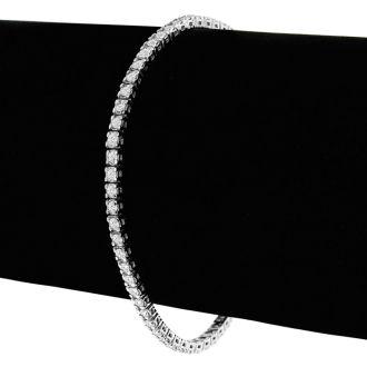 2.10 Carat Diamond Tennis Bracelet In 14 Karat White Gold, 7 1/2 Inches