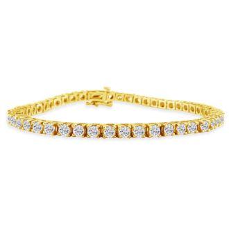 2.10 Carat Diamond Tennis Bracelet In 14 Karat Yellow Gold, 7 1/2 Inches