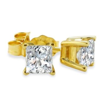 Closeout! 3/4ct Princess Diamond Stud Earrings In 14k Yellow Gold