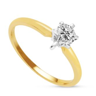 1/2 Carat Pear Shape Diamond Solitaire Ring in 14K Yellow Gold