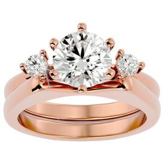 2 Carat Moissanite Solitaire Ring With Enhancer In 14 Karat Rose Gold