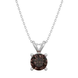 1/2 Carat Chocolate Bar Brown Champagne Diamond Solitaire Necklace In 14 Karat White Gold, 18 Inches