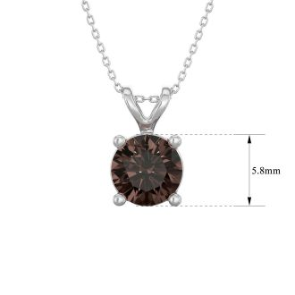 3/4 Carat Chocolate Bar Brown Champagne Diamond Solitaire Necklace In 14 Karat White Gold, 18 Inches