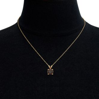 3/4 Carat Chocolate Bar Brown Champagne Diamond Solitaire Necklace In 14 Karat Yellow Gold, 18 Inches