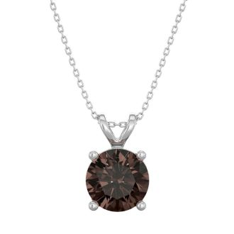 1 Carat Chocolate Bar Brown Champagne Diamond Solitaire Necklace In 14 Karat White Gold, 18 Inches