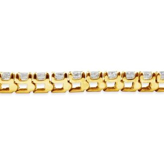 5 Carat Diamond Tennis Bracelet In 14 Karat Yellow Gold, 7 Inches. Fantastic Classic Beautiful Diamond Bracelet!