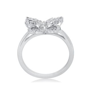 1/4ct Diamond Butterfly Ring in 10K White Gold