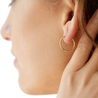 16MM Endless Hoop Earrings In 14 Karat Yellow Gold Over Sterling Silver