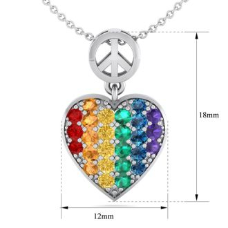 1/4 Carat Rainbow Pride Heart Necklace In Sterling Silver, 18 Inches. Brand New and Beautiful