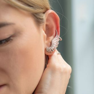 1/4 Carat Diamond Feather Cuff Earrings In White Gold Overlay.  Sells Out Immediately!