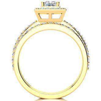1 Carat Princess Cut Pave Halo Diamond Bridal Set in 14k Yellow Gold