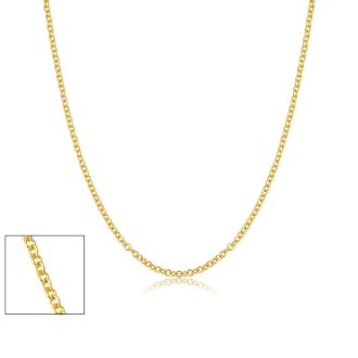 16 Inch 1MM Cable Chain In Yellow Gold Overlay