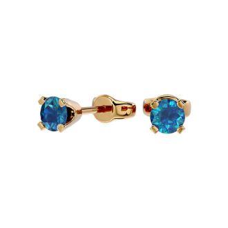 1/3 Carat Blue Diamond Stud Earrings In Yellow Gold