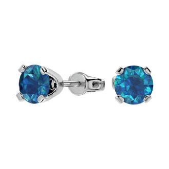 1 Carat Blue Diamond Stud Earrings in 14 Karat White Gold